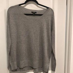 H&M lightweight grey striped sweater. Like new. S